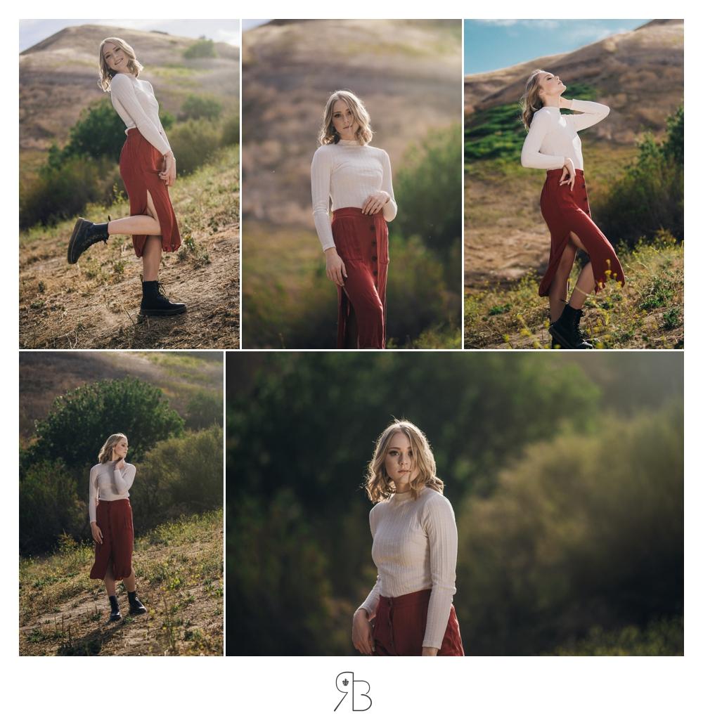 girl in red skirt white top outdoor senior session renee bowen