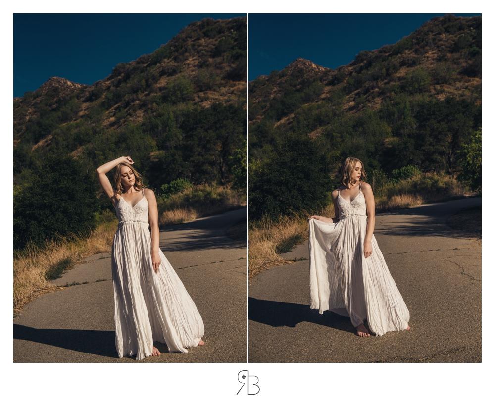 girl in white dress backlit renee bowen senior photography
