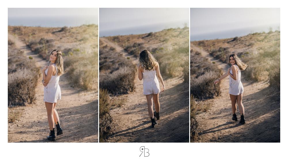 girl in outdoor setting wearing white tshirt country road Renee Bowen Seniors