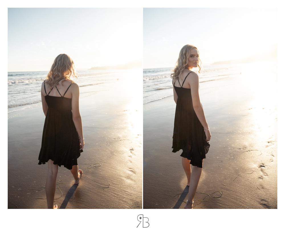 girl at beach back lit wearing black sundress Renee Bowen Seniors