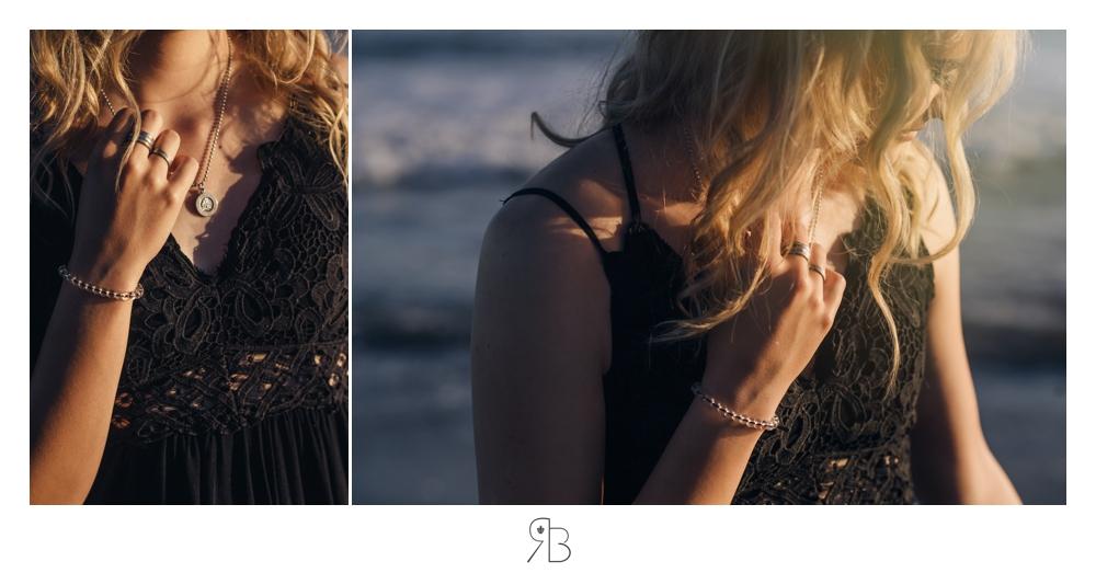 girl at beach close up back lit wearing black sundress Renee Bowen Seniors