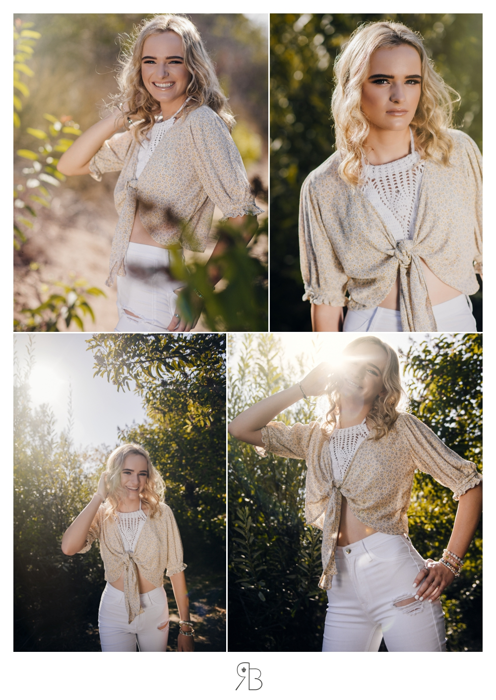 Girl in natural setting backlit wearing tan sweater and white bell bottoms Renee Bowen Senior Photography