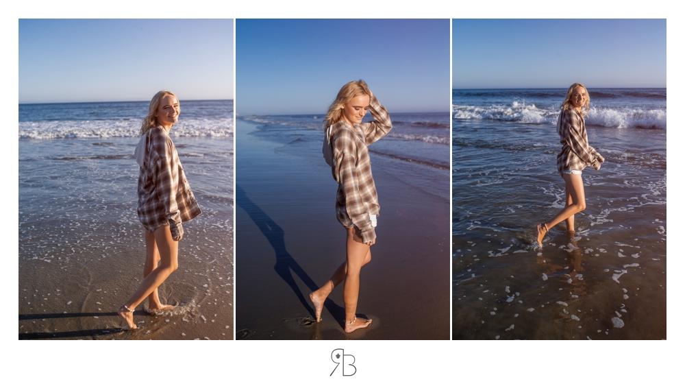 girl at beach wearing plaid shirt white tank top denim shorts Renee Bowen Senior Photography