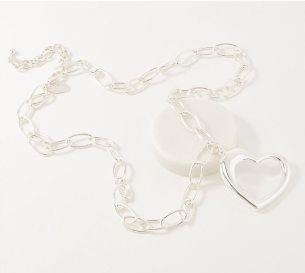 Heart Necklace and Eyeglass Holder (Silvertone)