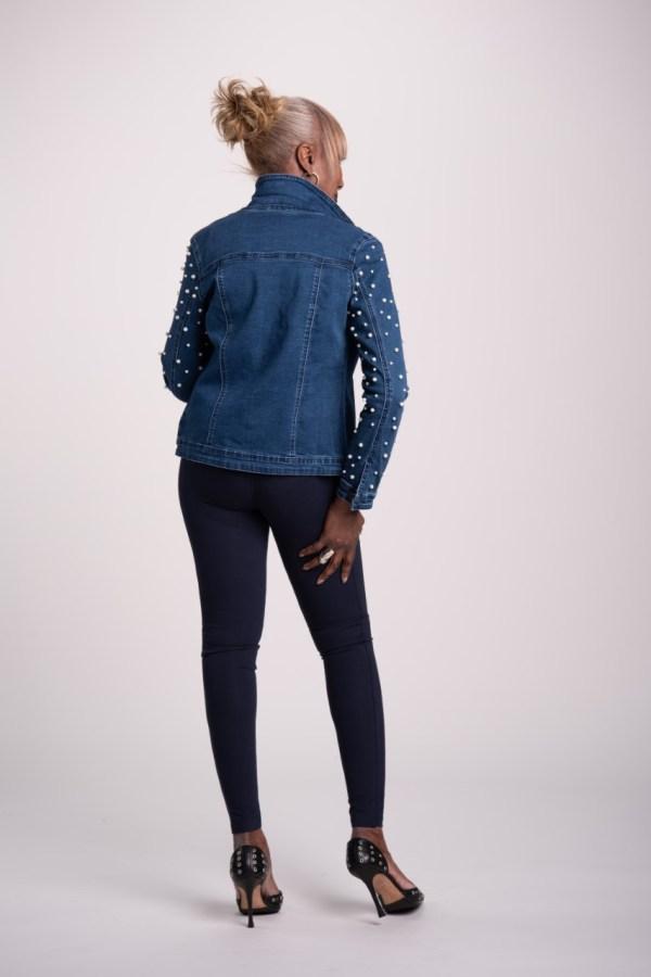 My Wonder Denim Jean Jacket with Pearl Sleeves