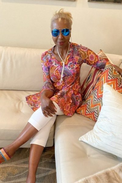 Renee Greenstein in Godet Tunic & Kiss Me Aviator Sunglasses