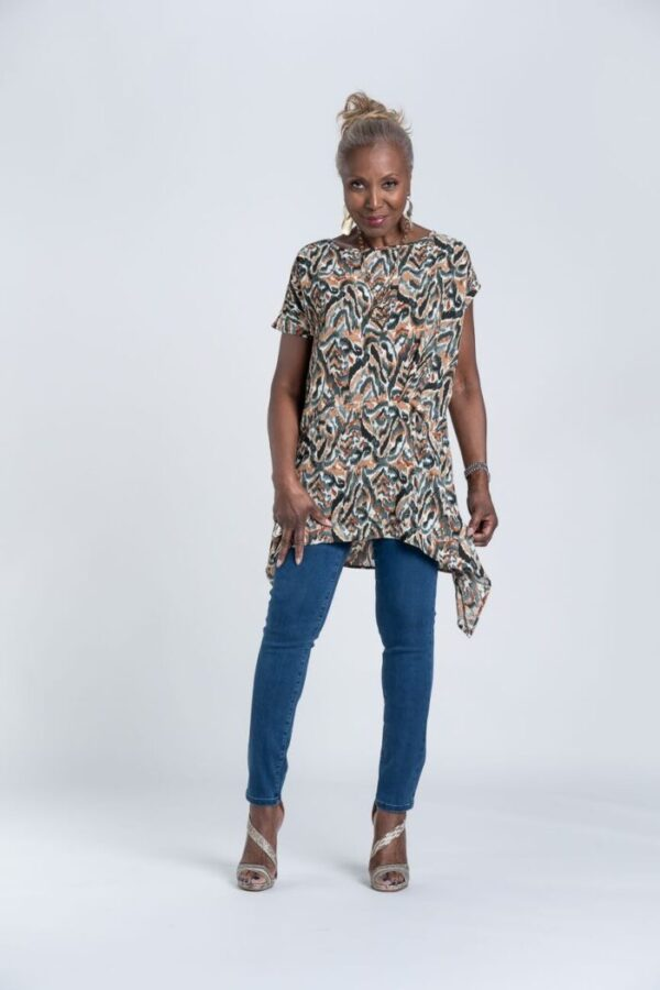 Shop Attitudes by Renee Crepe Printed Asymmetric Top
