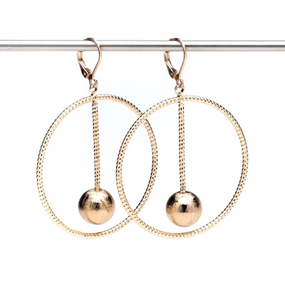 Set of diamond cut hoop with ball drop