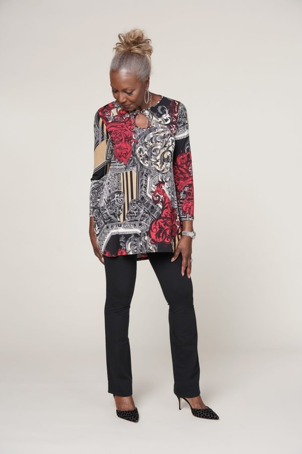Attitudes by Renee Printed Como Jersey Hi-Low Tunic w/ Keyhole Neck