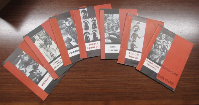 Arts of the Maori booklets, Turnbull Library. Photo: Author