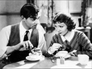 Clark Gable and Claudette Colbet coffee