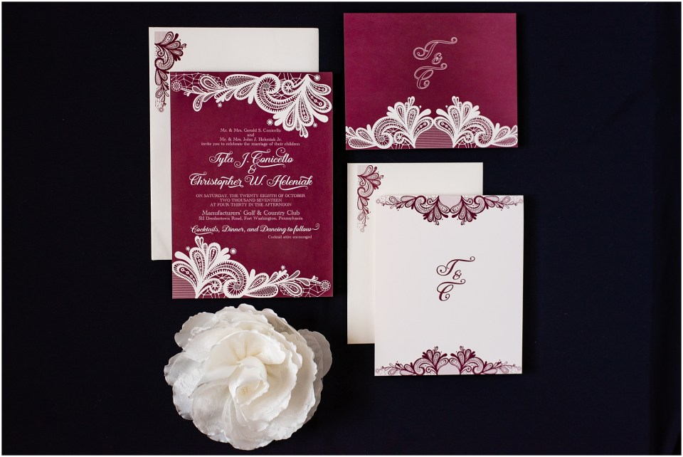 Fall Manufacturers' Golf and Country Club Wedding. Fort Washington, PA Wedding Venue. Montgomery County, PA Wedding Venue. Fall Wedding. Invitation Suite.