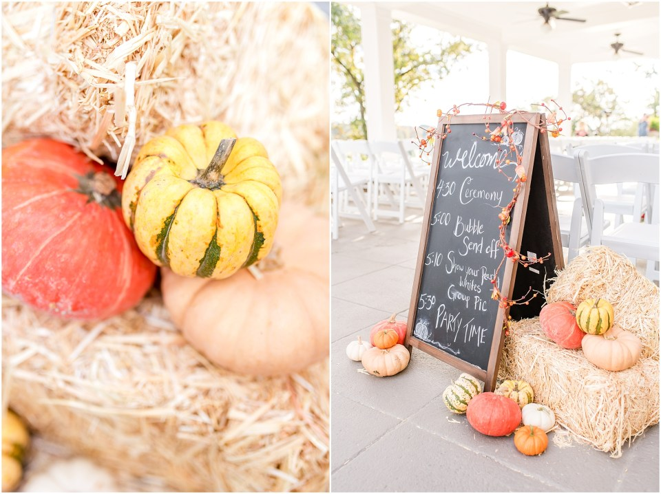 Fall Manufacturers' Golf and Country Club Wedding. Fort Washington, PA Wedding Venue. Montgomery County, PA Wedding Venue. Fall Wedding. Fall Wedding Ceremony Decor With Pumpkins and Cornstalks.