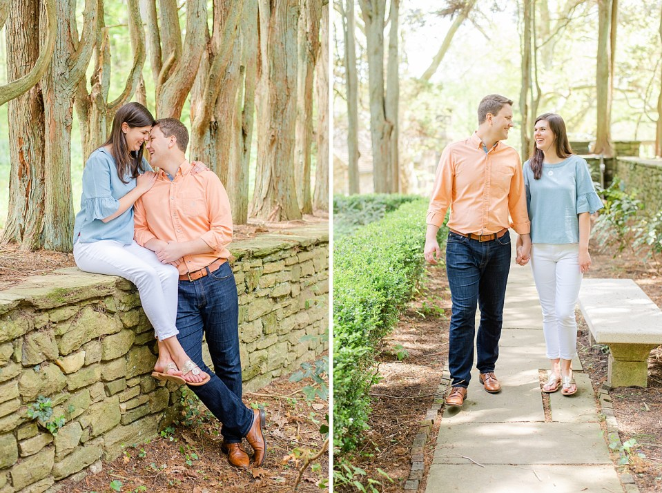 engagement session in gardens at Ridley Creek photographed by Renee Nicolo Photography