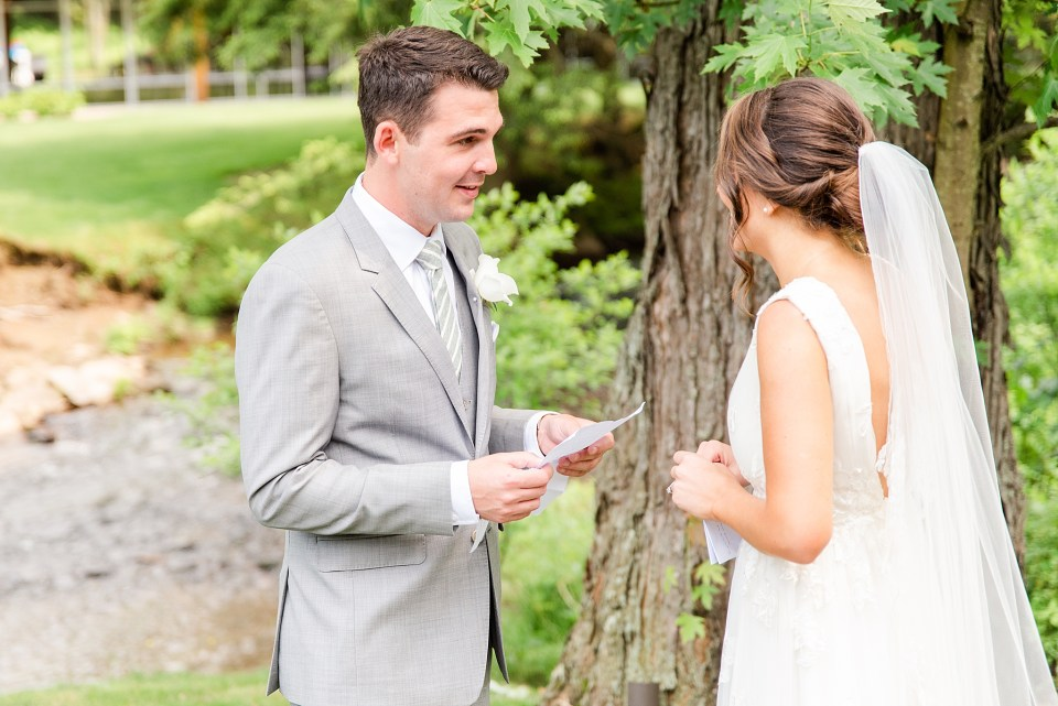 letter exchange with bride and groom by wedding photographer Renee Nicolo Photography