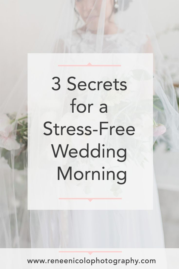 Planning a wedding can be stressful, but I'm here to help! Brides, I'm sharing my three secrets on how to have a stress free morning on your wedding day. These planning tips will ease every bride's mind, and ensure that you can be present and enjoy every moment of getting ready with your bridesmaids on your wedding day! Repin to save these tips! #reneenicolophotography #buckscountyweddingphotographer #weddingdaytips #tipsforbrides #engaged #stressfreewedding