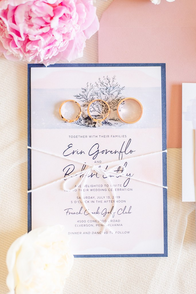 navy and pink wedding stationery photographed by PA wedding photographer Renee Nicolo Photography