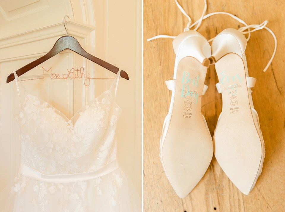wedding gown and shoes photographed by PA wedding photographer Renee Nicolo Photography