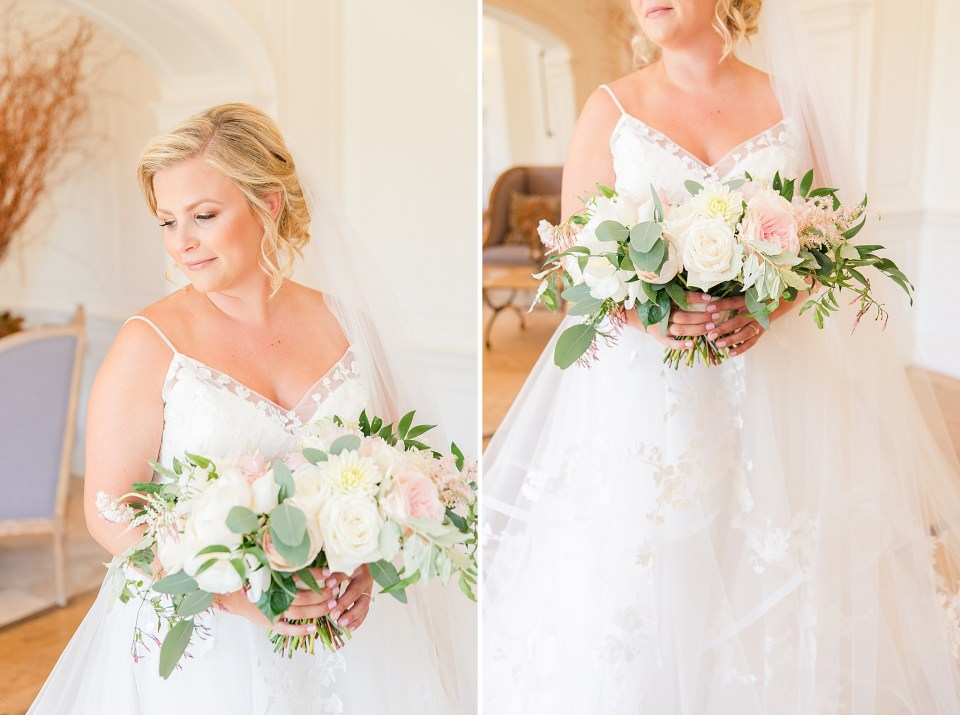 bride and pastel bouquet photographed in Chester County PA by Renee Nicolo Photography