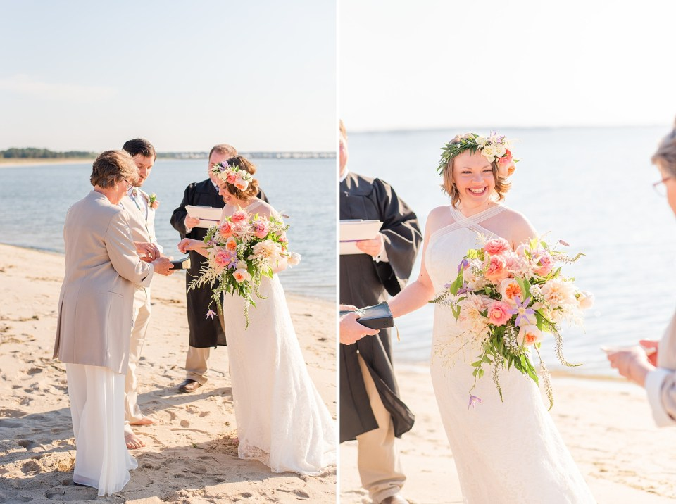 intimate beach wedding with parents photographed by Delaware wedding photographer Renee Nicolo Photography