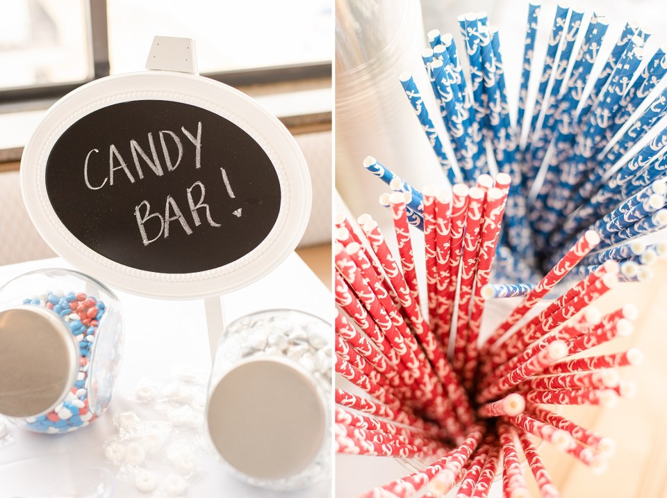 candy bar decor at Salero Oceanfront wedding reception photographed by Renee Nicolo Photography