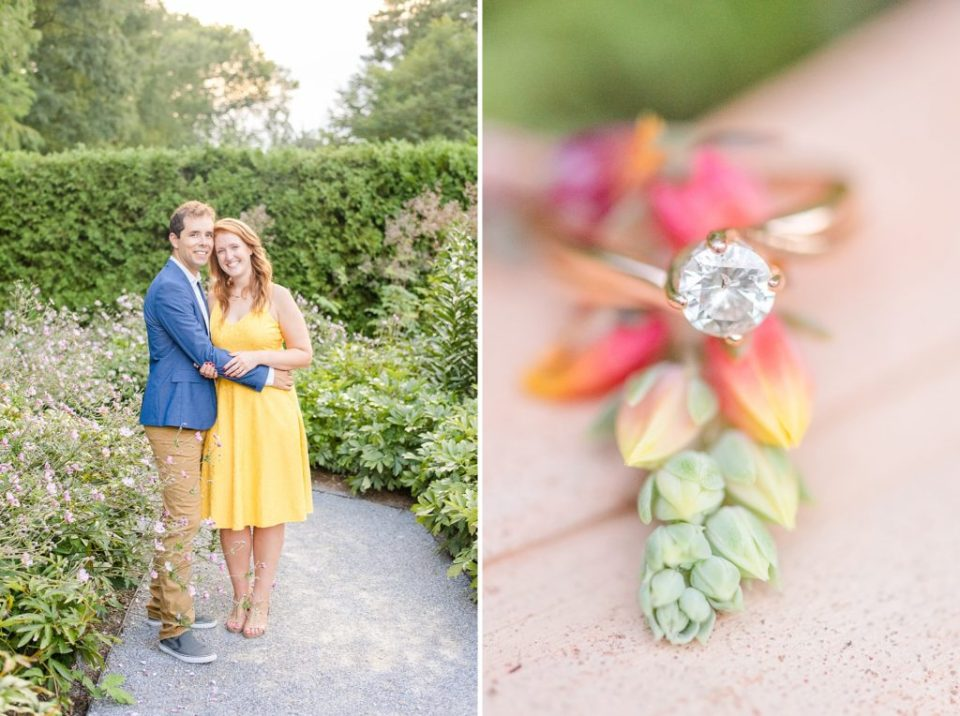 romantic summer engagement portraits at Longwood Gardens with Renee Nicolo Photography