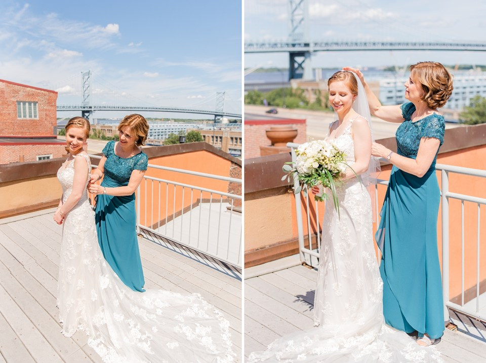bride prepares for wedding day at Penn's View with mother photographed by Renee Nicolo Photography
