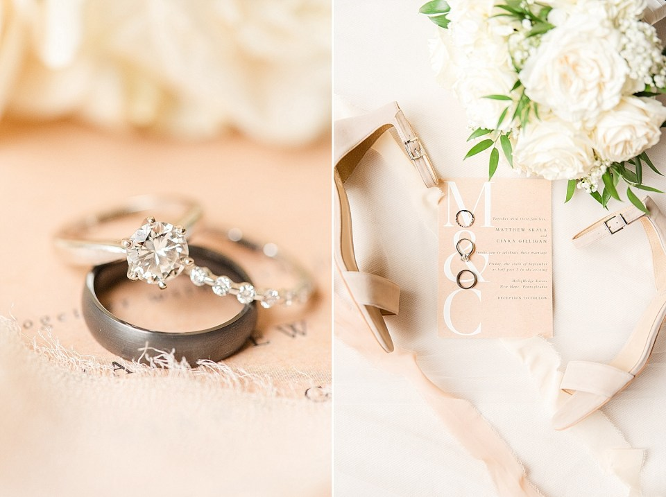 bride's details for summer wedding in New Hope PA photographed by Renee Nicolo Photography