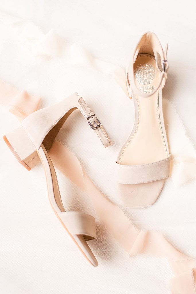 blush shoes for the bride photographed by Renee Nicolo Photography