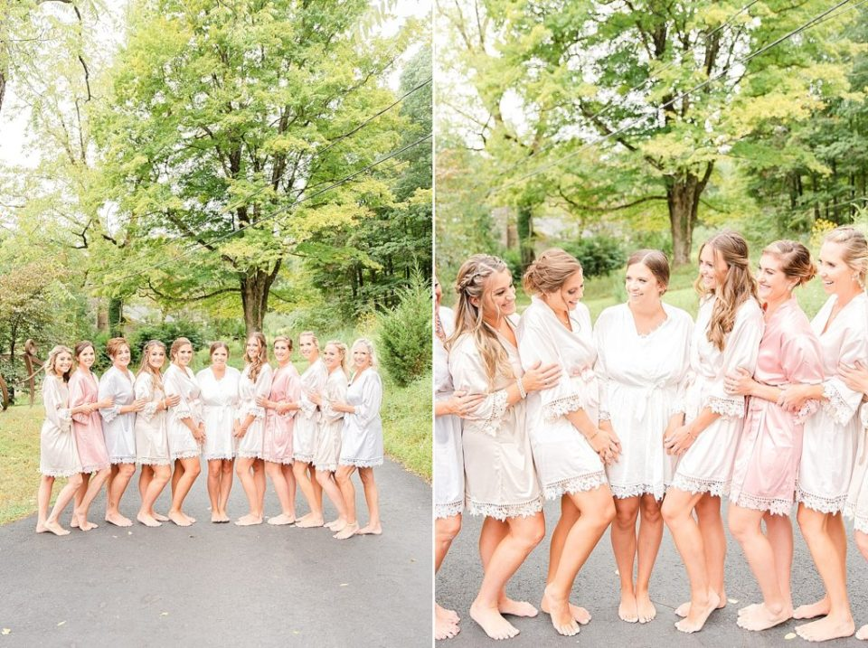 bridesmaids in robes pose for Renee Nicolo Photography