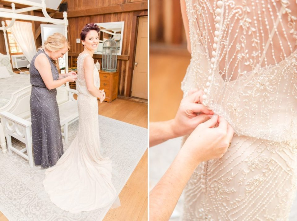 bride gets into wedding gown with bridesmaid photographed by Renee Nicolo Photography