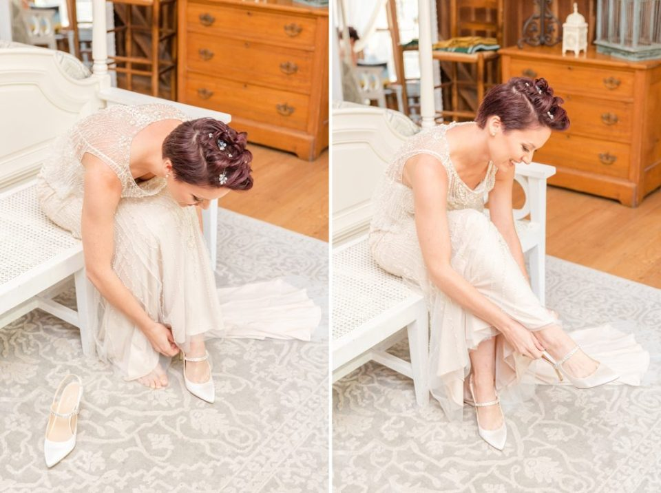 bride puts on shoes for wedding in PA with Renee Nicolo Photography