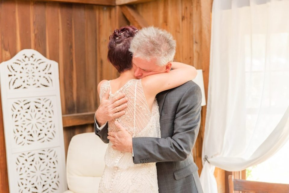 Renee Nicolo Photography photographs Historic Stonebrook Farm wedding day first look with father
