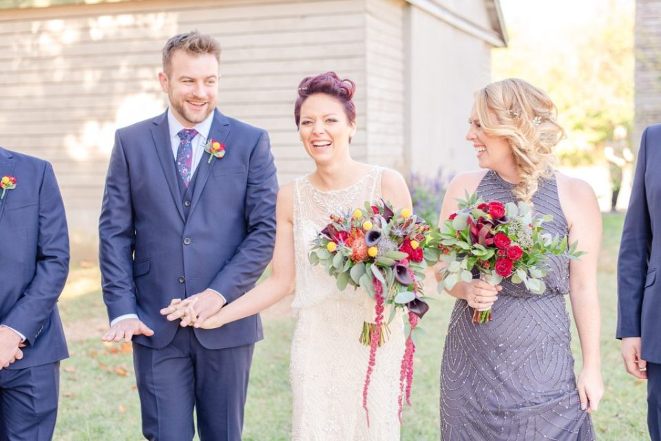 bridal party for fall photographed by Renee Nicolo Photography