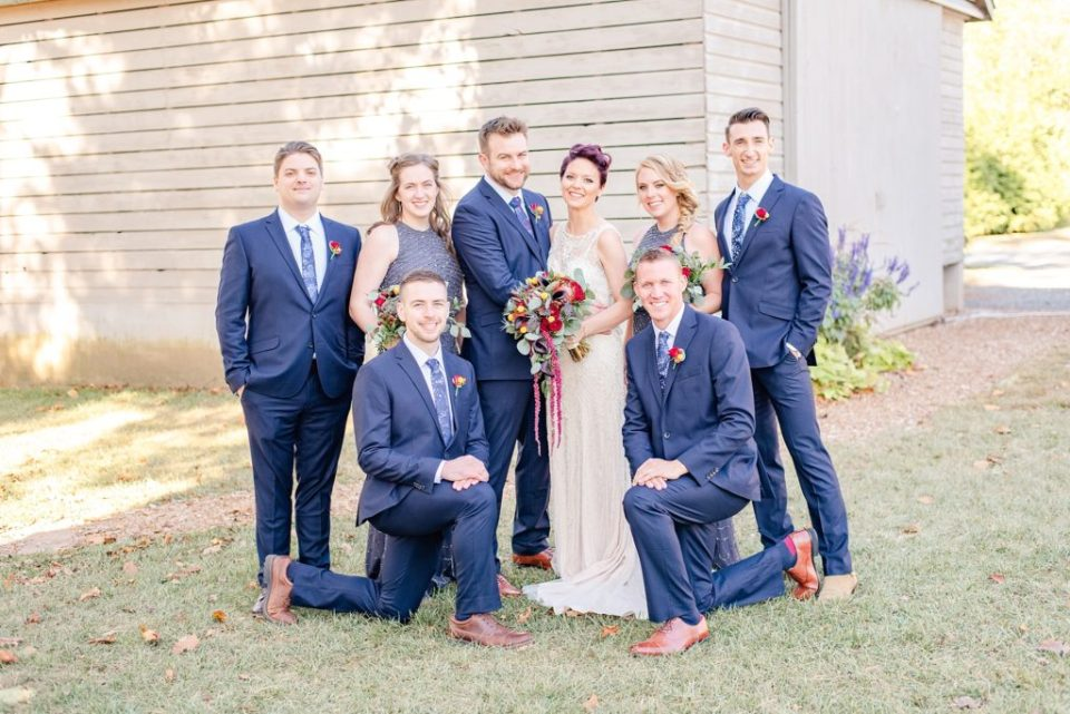 bridal party photographed at Historic Stonebrook farm by Renee Nicolo Photography