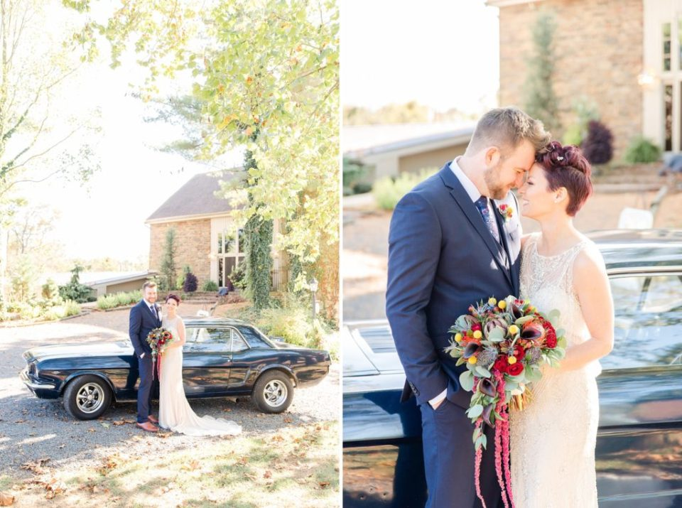 bride and groom with vintage Mustang photographed by Renee Nicolo Photography
