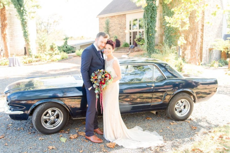 wedding photos by vintage Mustang by Renee Nicolo Photography