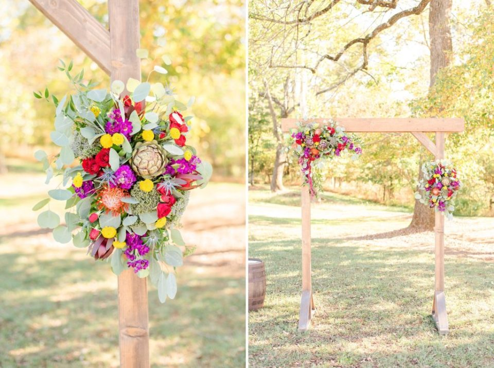 arch with bright florals for ceremony at Historic Stonebrook Farm