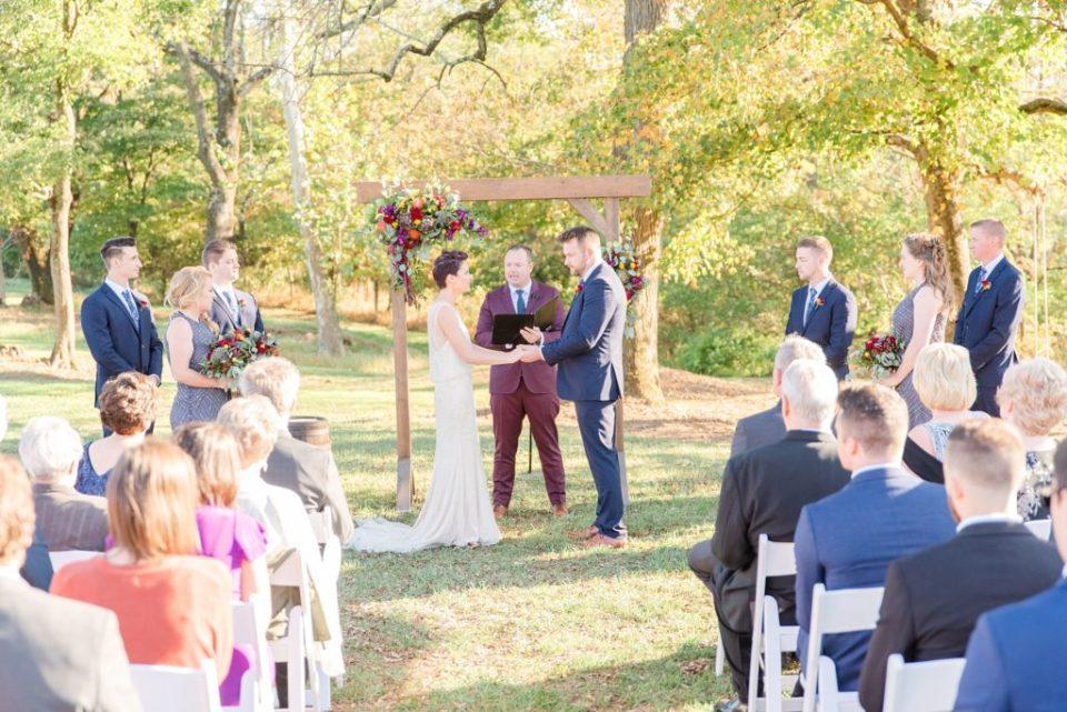 Historic Stonebrook Farm wedding ceremony photographed by Renee Nicolo Photography