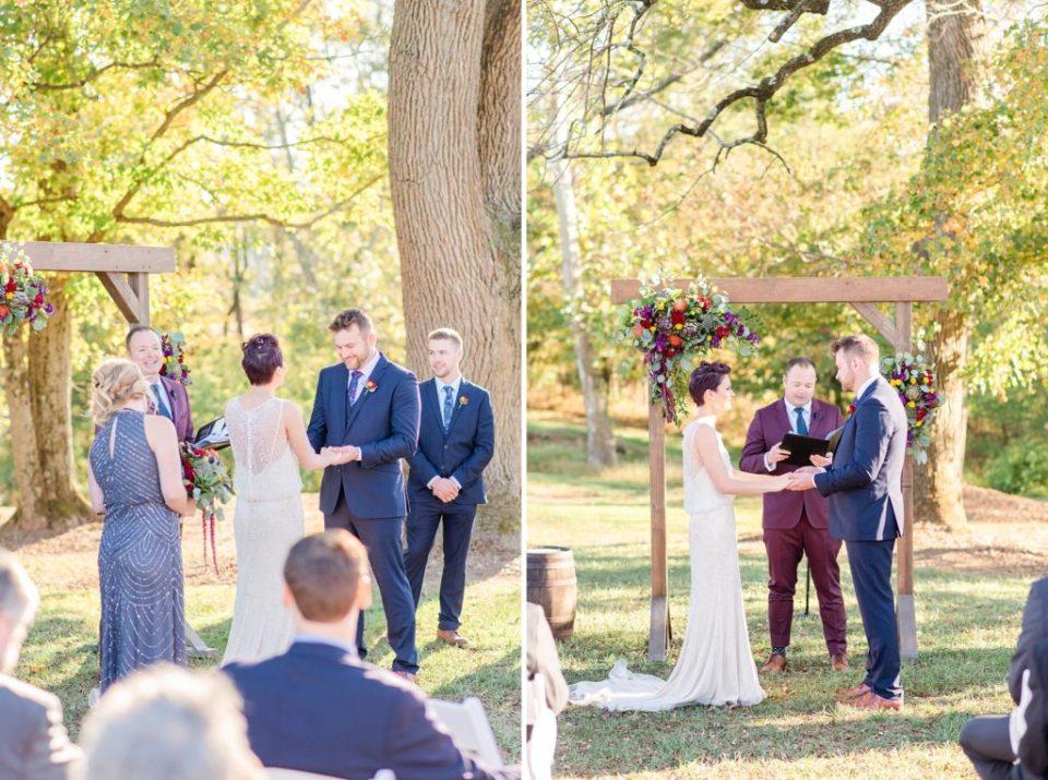outdoor Historic Stonebrook Farm wedding ceremony photographed by Renee Nicolo Photography