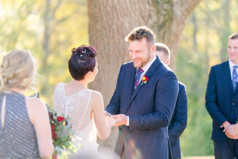 outdoor fall Historic Stonebrook Farm wedding ceremony photographed by Renee Nicolo Photography