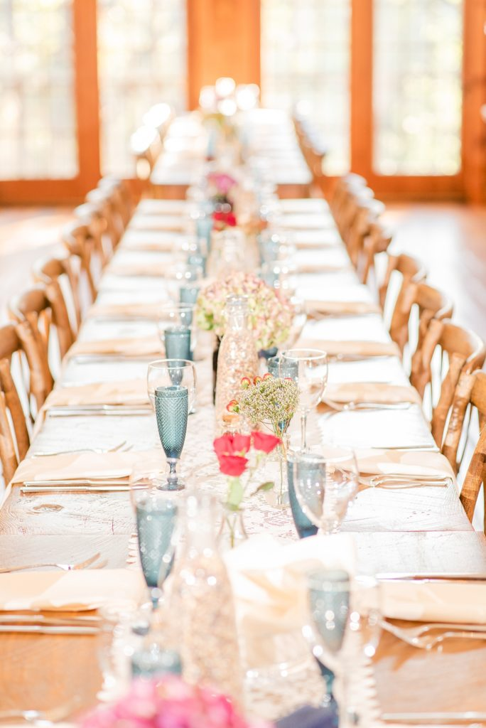 family style seating for Historic Stonebrook Farm wedding reception photographed by Renee Nicolo Photography