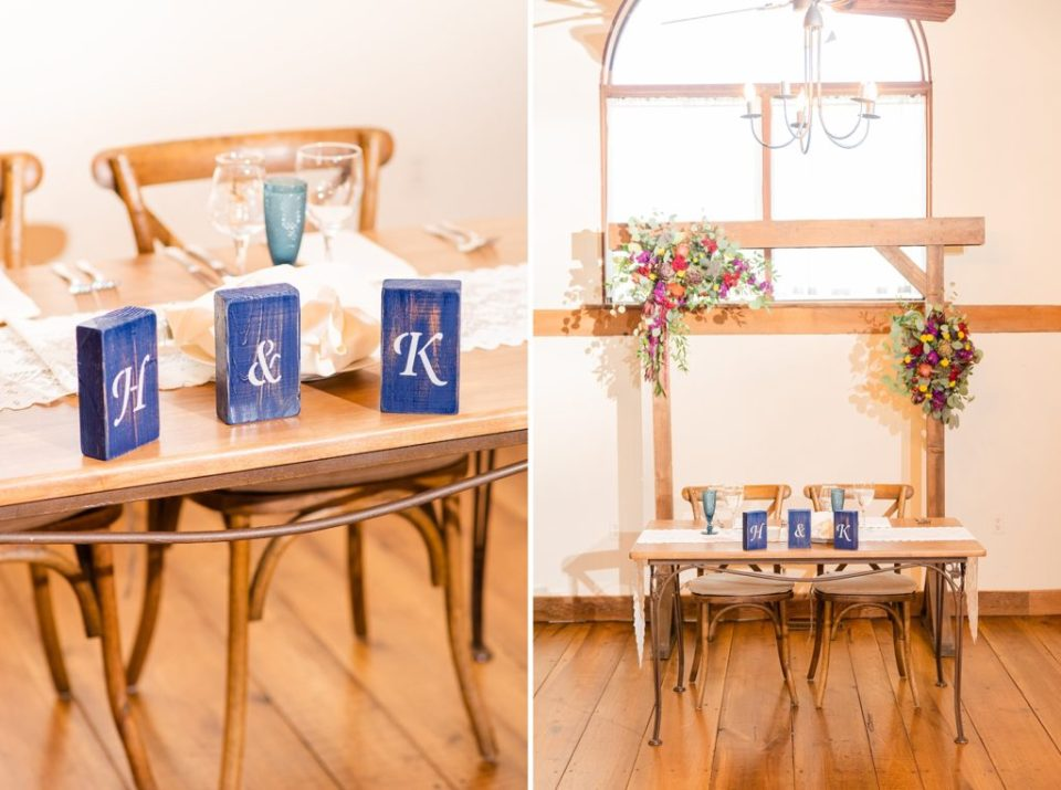 sweetheart table in Historic Stonebrook Farm wedding reception photographed by Renee Nicolo Photography