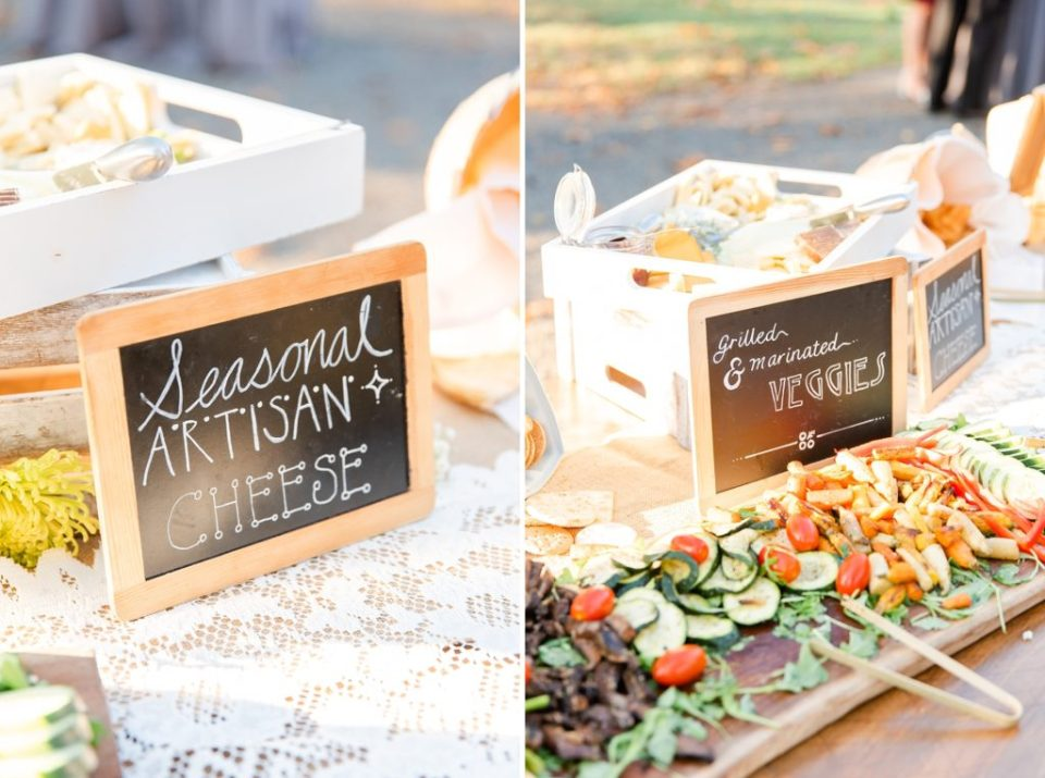 wedding cocktail hour snacks photographed by Renee Nicolo Photography