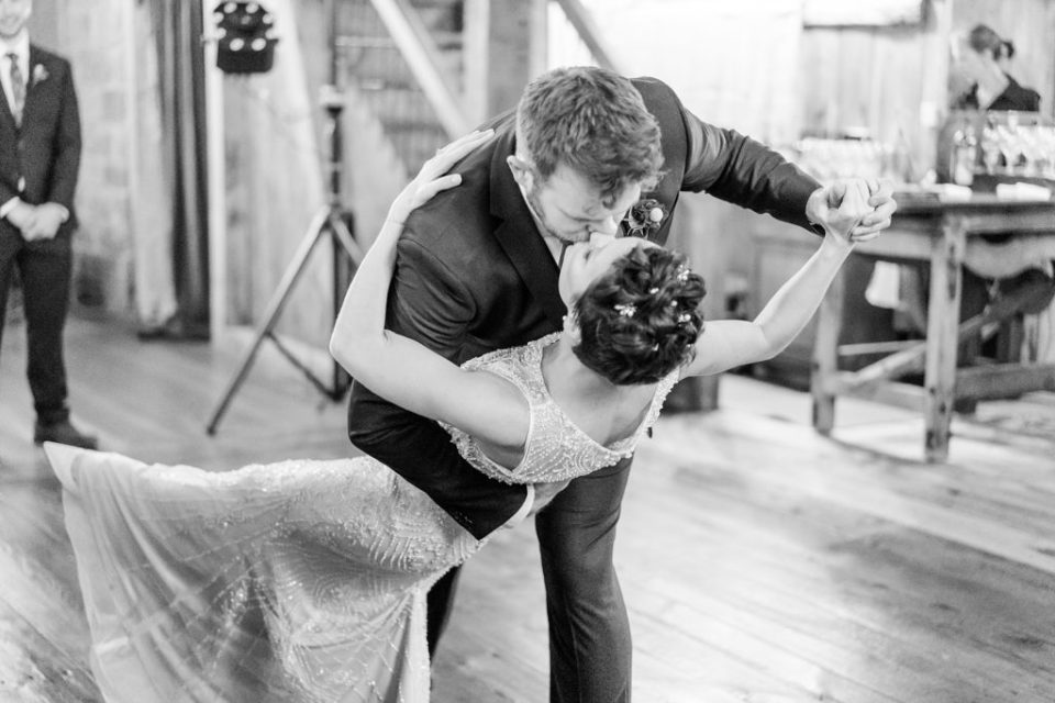 first dance at Historic Stonebrook Farm wedding reception photographed by Renee Nicolo Photography