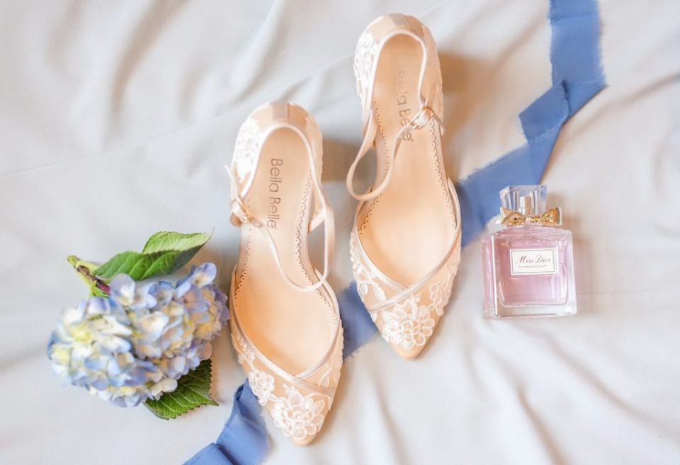 bride's blush shoes photographed by Renee Nicolo Photography