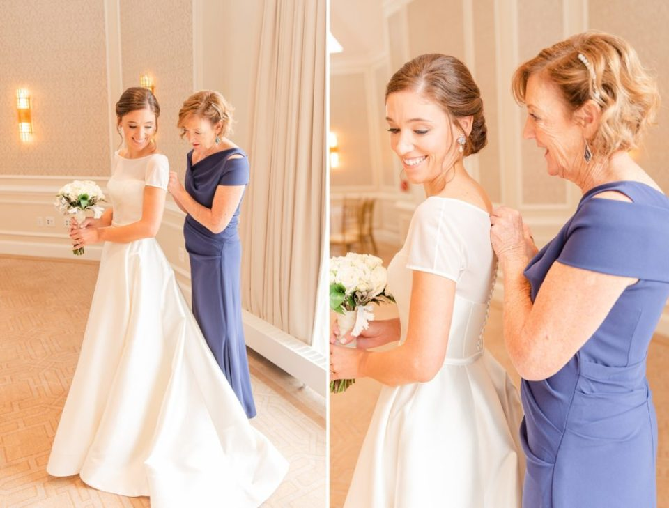 bride gets into wedding dress with mother photographed by Renee Nicolo Photography