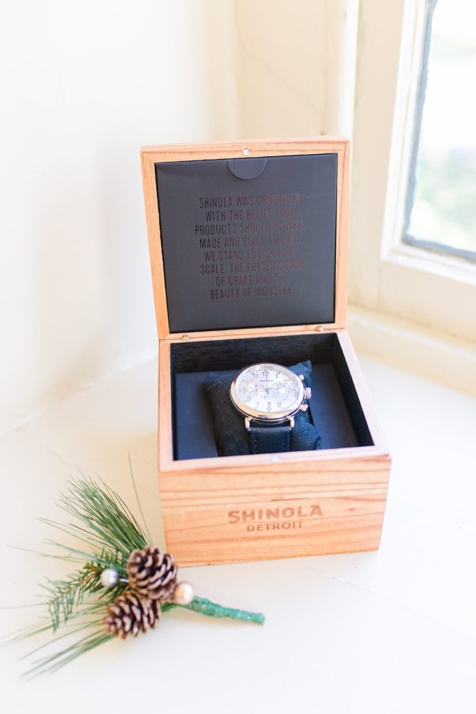 groom's gift of a watch photographed by Renee Nicolo Photography