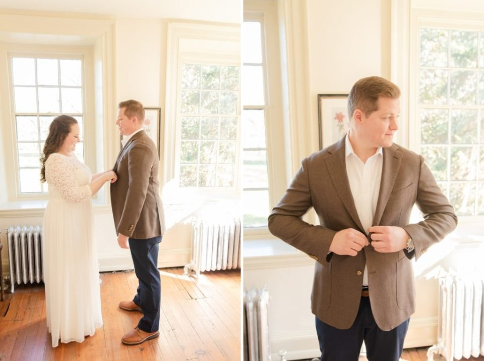 bride helps groom get ready for PA wedding with Renee Nicolo Photography