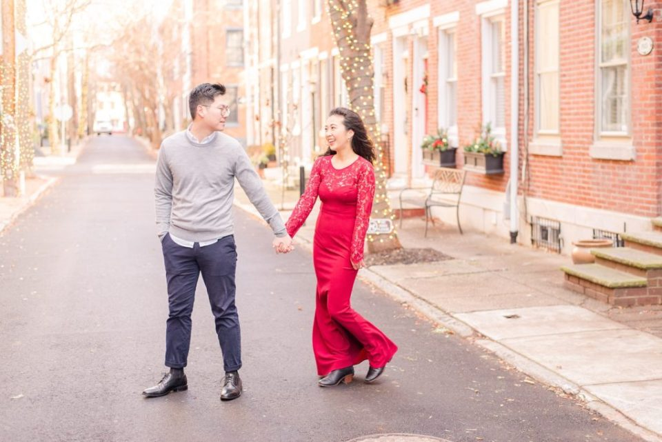 Renee Nicolo Photography captures winter engagement photos with red dress